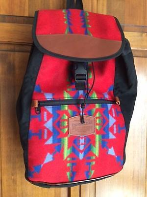 Red Wool Native American Pattern W/ Leather Trim PENDLETON BACKPACK/NWOT