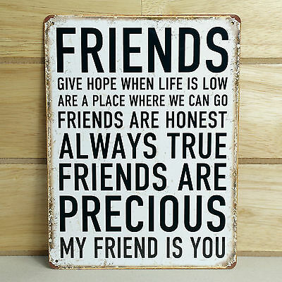 Metal Plaque Friendship Best Friends Gift Vintage Retro Wall Shabby Chic Sign