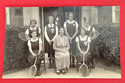 People - Group of Girls with Tennis Racquets, Teacher in Centre, RP PC Unused