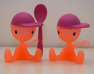 ☆☆☆ ALESSI CICO EGGCUPS ~ 2 x orange and pink - one spoon ☆☆☆