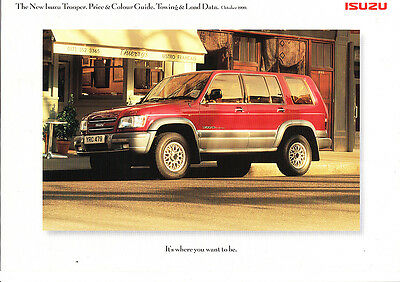Isuzu Trooper Range Price & Colour Guide,Towing Load,Factory Sales Brochure,1999