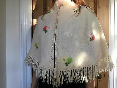 Vintage Knitted Shawl Flower Print Size S