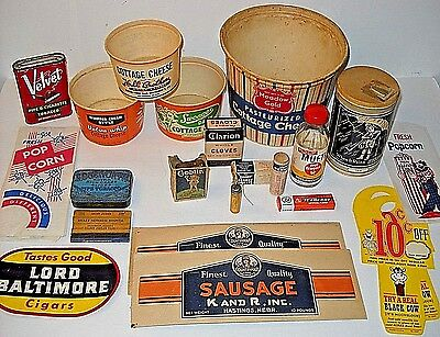 Vintage Country Store Old Advertising Shelf Lot * Food, Tobacco, Medical, Soap