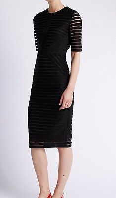 Brand New Ladies M&S Ribbed Black Dress UK 16
