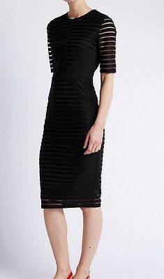 Brand New Ladies M&S Ribbed Black Dress UK 8