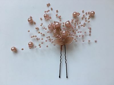 Ladies Peach Flower and Pearl Hair Accessory (Bridal / Bridesmaid / Party)