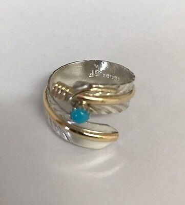 Native American sterling silver With Gold Field Turquoise feather design Ring