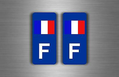 2x autocollant sticker plaque d'immatriculation voiture auto drapeau F RANCE r2