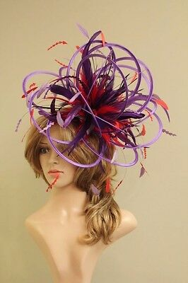 Large Purple & Red Fascinator Hat/change or add extra colours satin and feathers