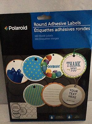 Polaroid 2 Inch 160 Blank White Round Circle Adhesive Ink Jet Labels Stickers