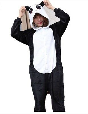 Unisex Adult Panda One Piece Pajama/costume Black/white Xl Nwot