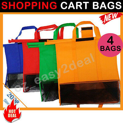 Set of 4 Bags Reusable Grocery Cart Supermarket Trolley Bag Shopping Carrier Bag