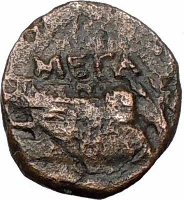 Megara ATTICA 307BC Ancient Very Rare  Greek Coin SHIP & DOLPHINS  i15631