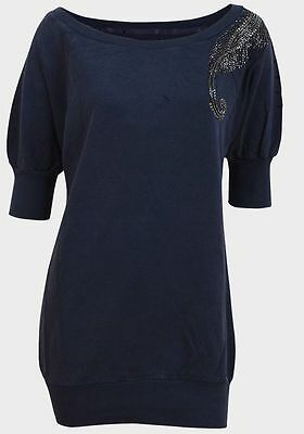 New Ladies George Blue Faded Embellished & Ripped Detail Sweatshirt Top Size 14