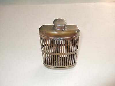 Vtg  Antique Whiskey Flask Cage Nickle Plated without bottle