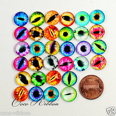10/20/50pcs 12mm Mixed Dome Round Dragon Eyes Evil Eye Glass Cameo Cabochons