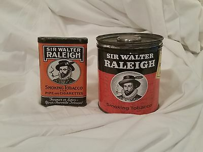 Vintage Sir Walter Raleigh Smoking Tobacco Pipes And Cigarettes Tins