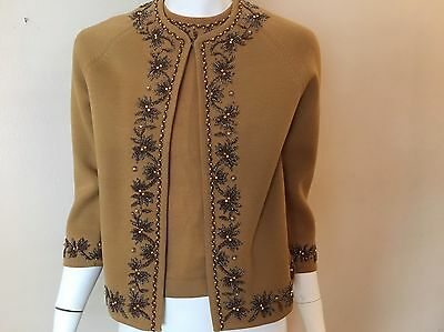 Vintage Beaded Cardigan Sweater Brown 2 pc 1950s Twin Set