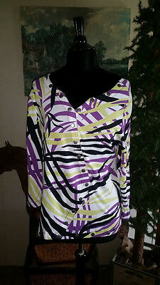 NWOT WESTBOUND Women's Shirt Blouse Buttons Geometric Purple LARGE 3/4 Sleeve