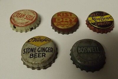 5 Diff Vintage Cork Back Soda Pop Caps O'keefe's, Kist Dry, Boswell, Mouffeux