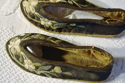As Found Antique Tribal Chinese Hand Embroidered Baby/doll Shoes