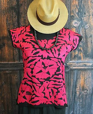 Red & Black Hand Embroidered Huipil / Blouse Jalapa Mexico Hippie Boho Santa Fe