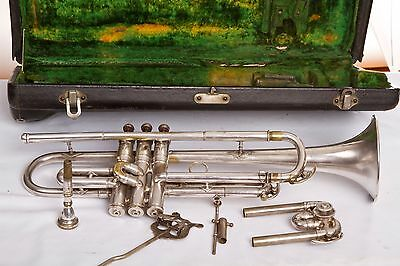 1925 Elkhart CONN 22B Trumpet w/Extra Tuning Slide for A Horn + Extras and Case