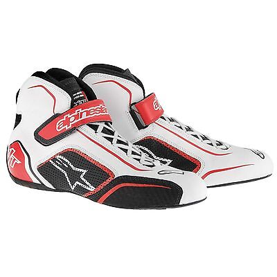 Alpinestars Tech 1-T FIA Approved Race Boots - White/Red - UK 12/Euro 47