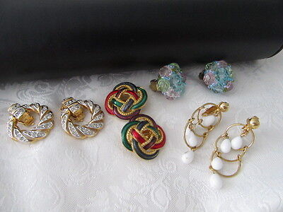 Vintage Bulk Lot Of 4 Pairs Of Quality Clip On Earrings