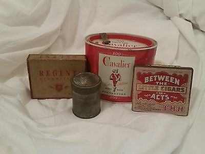 Vintage Lot Of 3 Tins Cavalier, Box Regent Cigarettes, Between The Acts Cigars