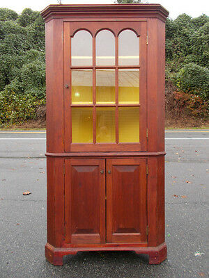 Antique Early American Corner Cupboard ~ Red Paint ~ Rosehead Nails ~ Virginia