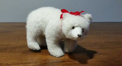 Polar Bear snowy white artificial fur figurine Christmas Decoration