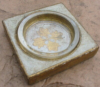 Vtg Florentine Pressed Wood Glass Gold Dish Ashtray Trinket Desk Plate Holder MC