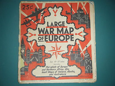 Vintage Large War(Ww2) Map Of Europe Map N.africa Inset Maps Iceland, Alaska