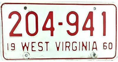1960 West Virginia License Plate #204-941 No Reserve