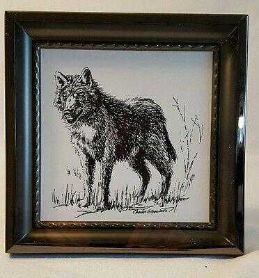 """Wolf Picture Black & White Art by Charles H. Gaudelle 6"""" x 6"""" x 3/4"""" Metal Frame"""