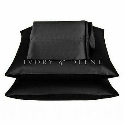 NEW BLACK Satin Pillowcase Set of 2 Silk Feel Suit Single Double Queen King Bed
