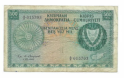 Cyprus Banknote 500 Mils 1961 Serial No:a/2 015703. Scarce And Good To Have It