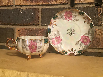 Antique CLASSICA 22 Carat Gold CUP and SAUCER Floral 3 Footed Tea Cup Saucer