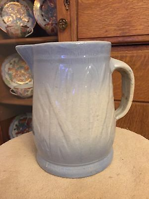 Antique Red Wing Cat Tail Willow Blue And White Pitcher
