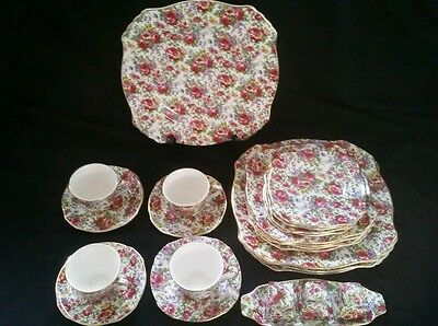 Place Setting for (4) Royal Winton SUMMERTIME (GOLD TRIM) Ascot