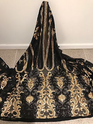"""Black Stretch Mesh W/gold Sequin Embroidery Lace Fabric 52"""" Wide 1 Yard"""