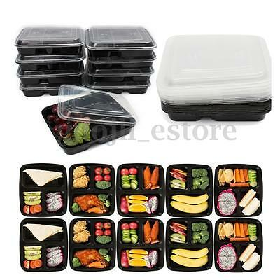 10 Microwavable Plastic Meal Prep 3 Compartment Reusable Food Storage Containers