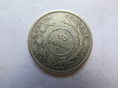 Costa Rica 1889 Overstamp 1923 Silver 50 Centimos Coin Ok Collectable Condition