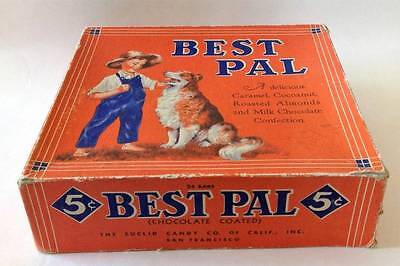 The Euclid Candy Co.  BEST PAL Boy + Collie Dog Box 1939 ~ RARE!