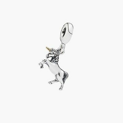 Sterling Silver European UNICORN Horse 14K Gold Plated Charm -FREE Pandora Cloth