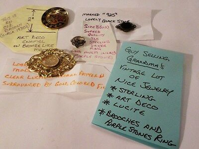 Grandma's Vintage Lot of Jewelry Sterling Art Deco Lucite Brooches Ring Silver