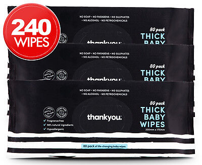 3 x Thankyou. Thick Baby Wipes 80-Pack