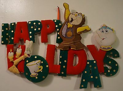 Beauty and the Beast Disney Happy Holidays Display Christmas Hanging Sign