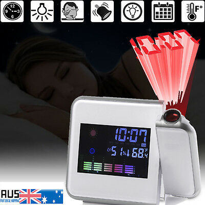 Digital LCD Time Projector Colorful LED Alarm Clock Weather Station Temperature